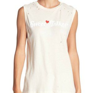 WILDFOX Distressed Slouchy Pinhole Muscle Tank Top